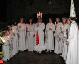 Lucia with her maidens singing for the audience. We also had one 'star boy' in the procession.